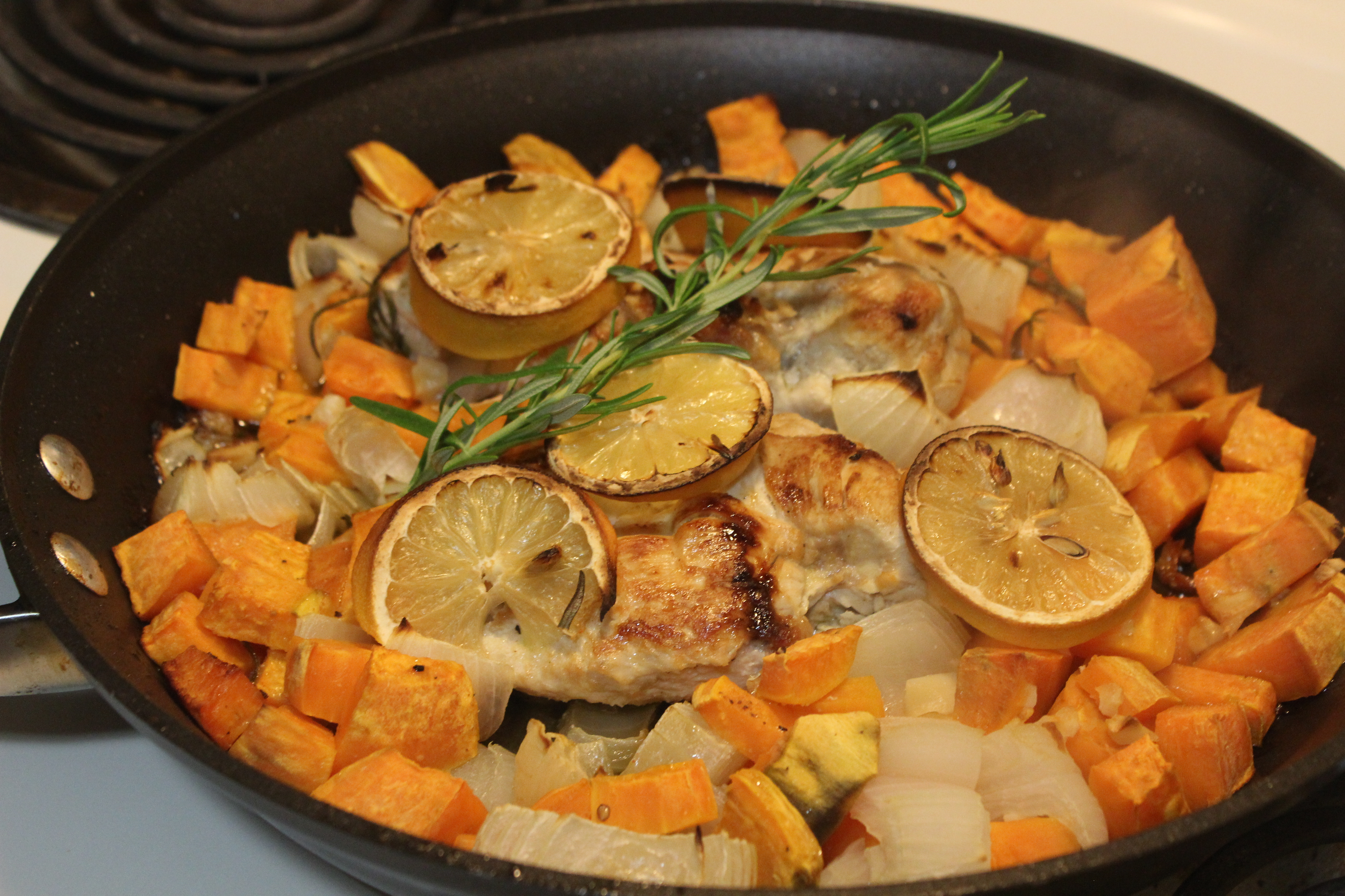 One Skillet Lemon Rosemary Chicken and Sweet Potatoes