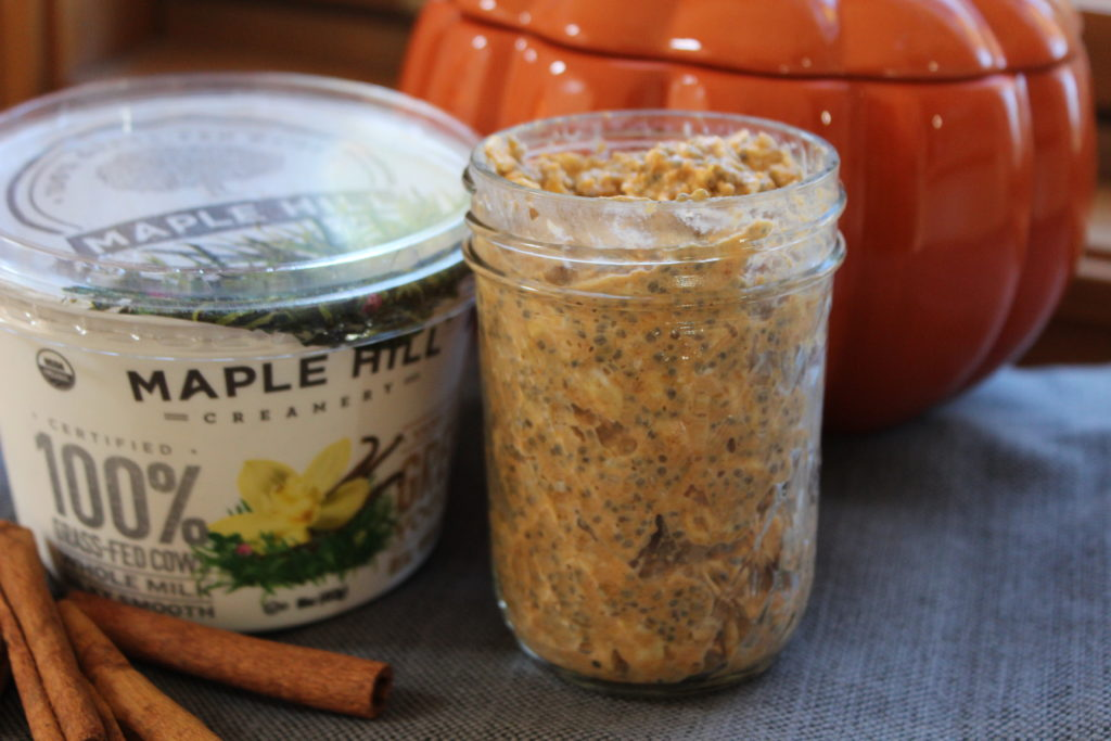 Pumpkin Spice Overnight Oats with Greek Yogurt